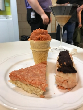 Trio of desserts (cheesecake, eclair and ice cream cone)