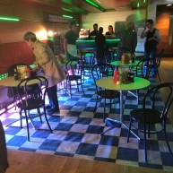 An SM student turned the bar area into the set from a previous production